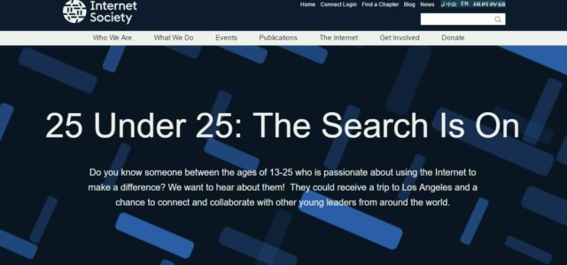 The Internet Society (ISOC) has recently launched a new campaign 25 Under 25 to promote youth leadership and young innovators from around the world. Toral Cowieson, Sr. Director, Internet Leadership […]