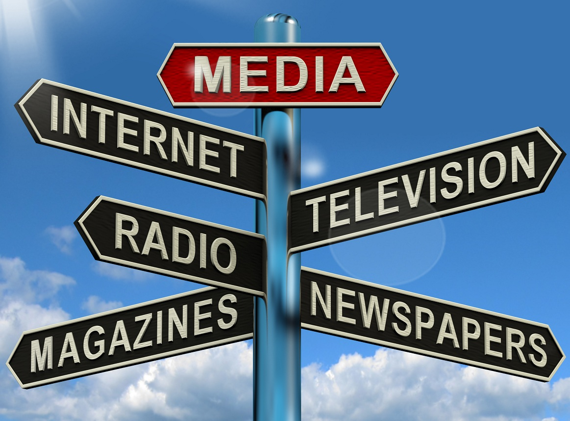 Signs with various forms of media.